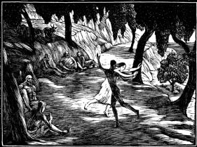 wood-engraving original print: The Dance for Daphnis and Chloe